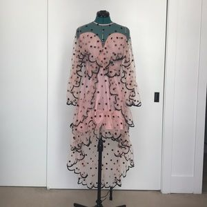 Pink and black polka dot hi-low sheer dress